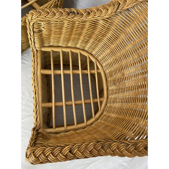 Vintage Woven Wicker Chairs With Braided Trim - a Pair For Sale - Image 11 of 13