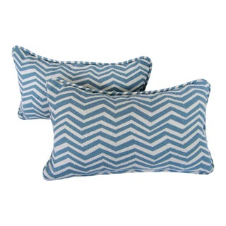 Custom Teal & White Chevron Lumbar Pillows - A Pair For Sale