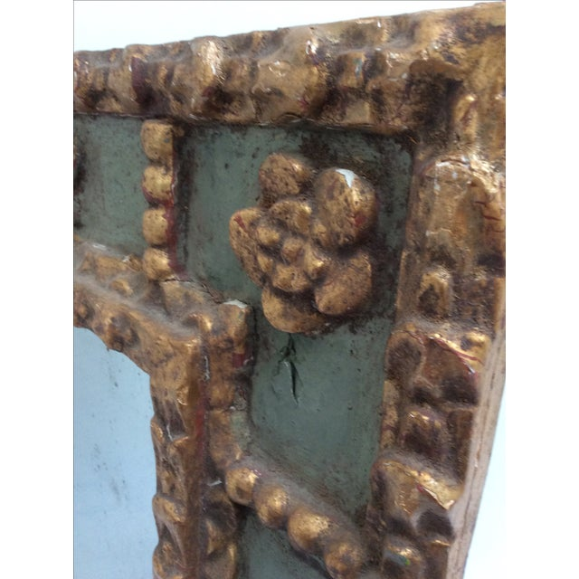 French Country Antique Peruvian Carved Green & Gold Mirror For Sale - Image 3 of 7
