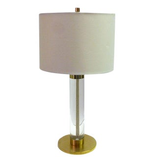 Frederick Cooper Lucite and Brass Table Lamp For Sale