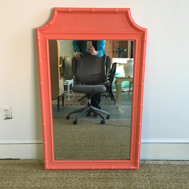 Vintage Coral Faux Bamboo Pagoda Style Mirror For Sale - Image 10 of 10