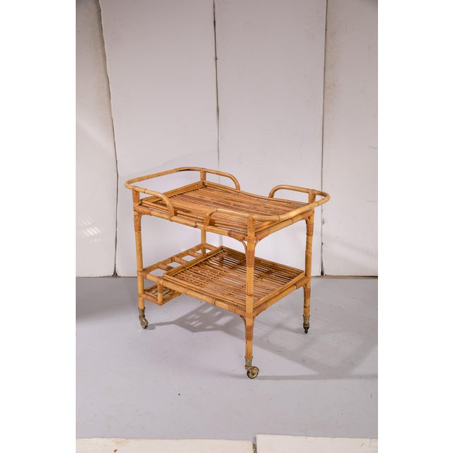 Wood Mid-Century Rattan Bar Cart For Sale - Image 7 of 9