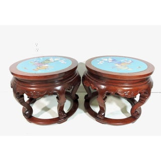 Vintage Chinese Rosewood and Inset Blue Cloisonné Panel Stools, Side Tables, Pedestals - a Pair Preview