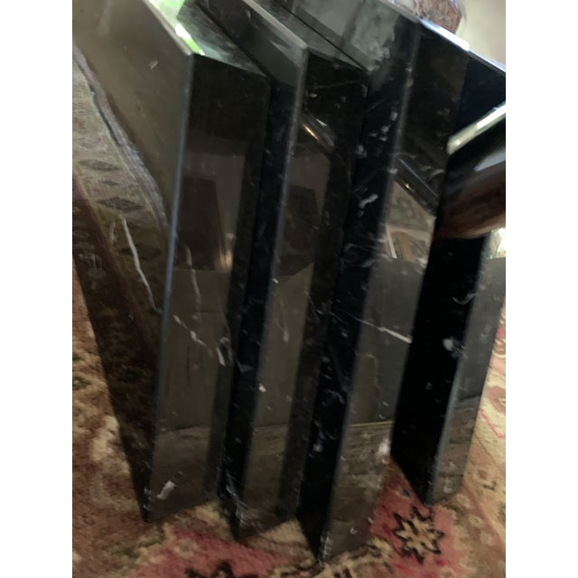 1980s Modern Stacked Marble Table With Rotating Top For Sale - Image 9 of 10