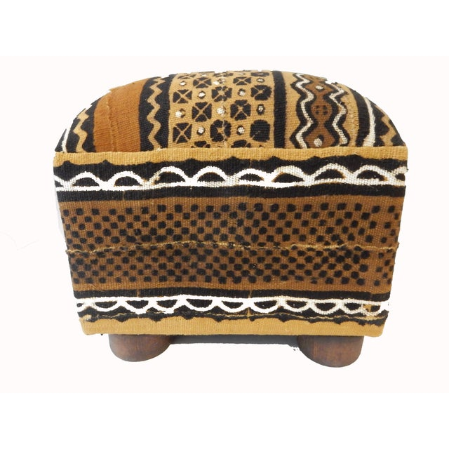 African Malian Mud Cloth Bogolan Textile Ottoman - Image 6 of 6