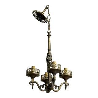 Art Deco Oscar Bach Segar Bronze Pendant Hanging Light Fixture Chandelier 1920s For Sale