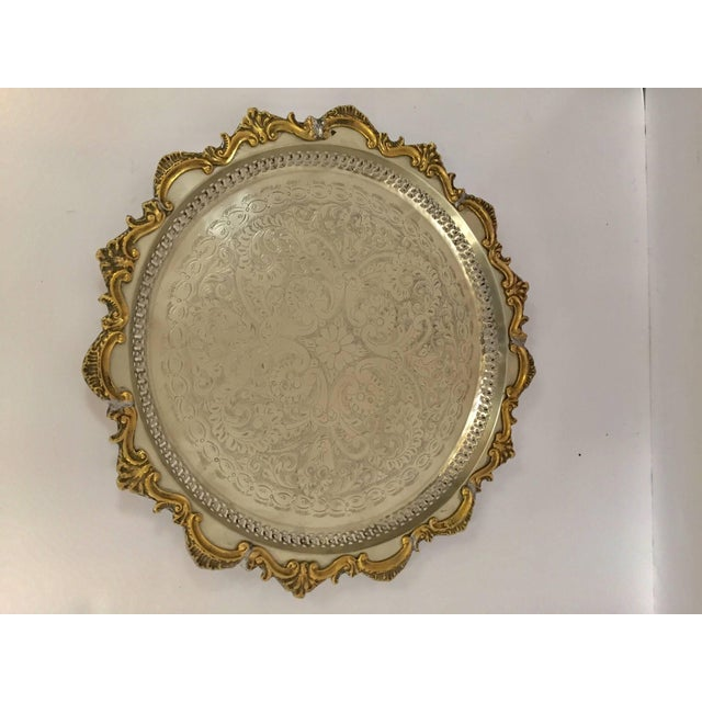 Moroccan Handcrafted Silver Round Tray With Brass Overlay Moorish Designs For Sale - Image 13 of 13
