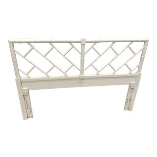 White Faux Bamboo Queen Headboard For Sale
