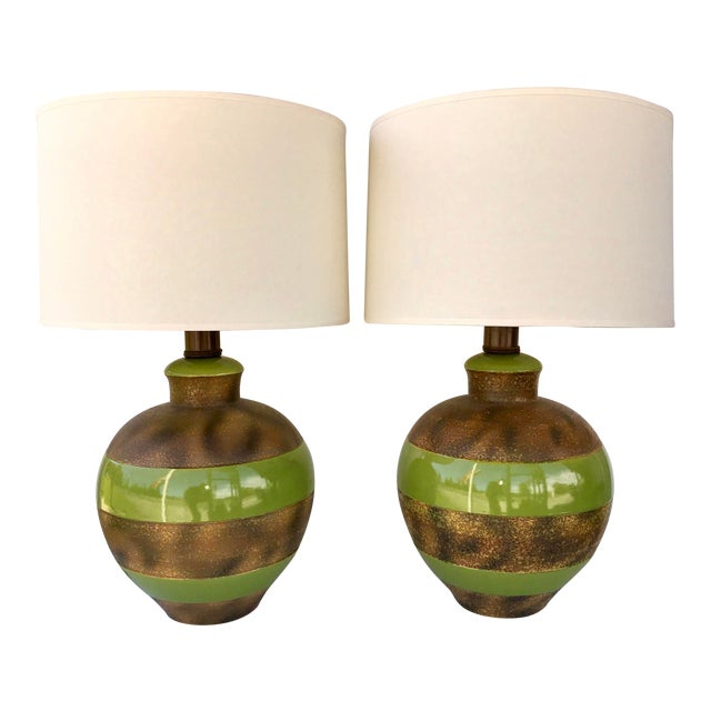 Large Bulbous Green and Bronze Striped Ceramic Lamps - a Pair For Sale