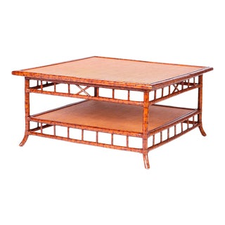 British Colonial Faux Bamboo and Grasscloth Square Coffee Table For Sale
