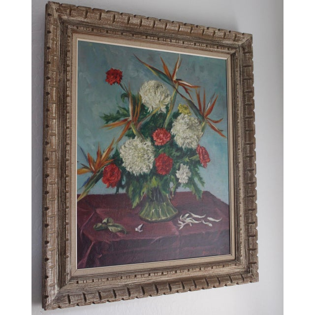 Still Life Flowers With Burgundy Cloth Painting by Ben Wilks For Sale - Image 4 of 13
