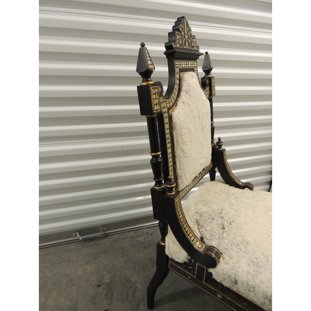 Boho Chic Vintage Moroccan Mother-Of-Pearl Inlaid Frame and Ebonized Wood For Sale - Image 3 of 12