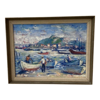 """Midcentury French Oil Painting on Canvas, """"Saint-Tropez, France"""" - 1962 For Sale"""