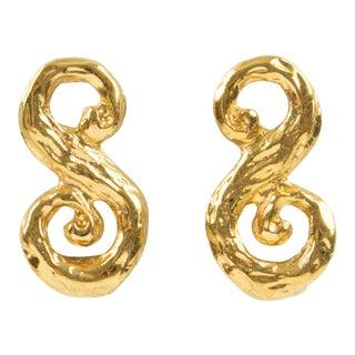 Yves Saint Laurent Paris Signed Clip Earrings Gilt Metal S Shape With Texture For Sale