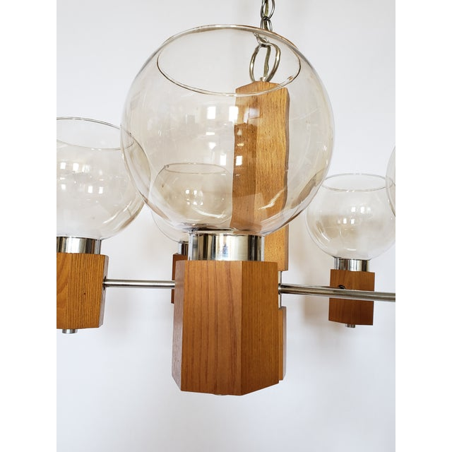1970s Mid Century Modern Danish Teak Wood and Chrome Chandelier For Sale - Image 5 of 12