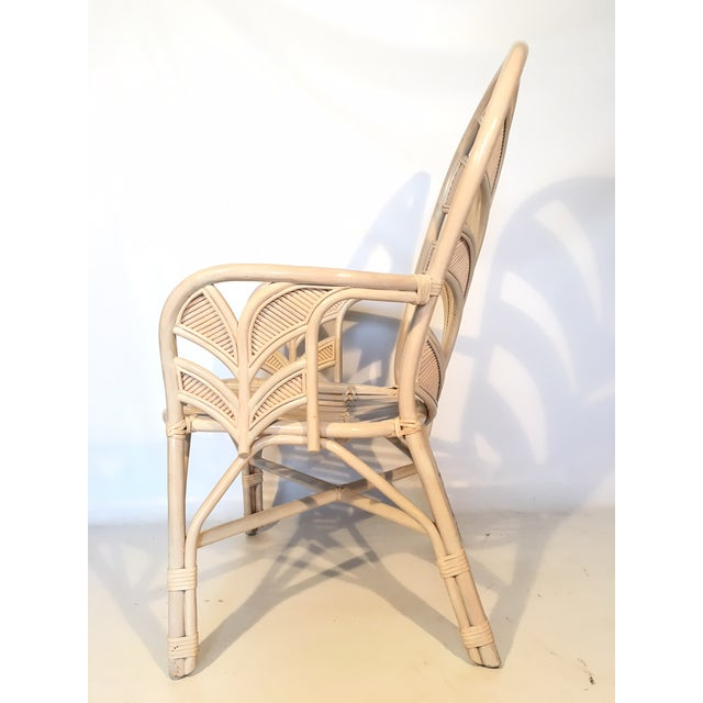 Hollywood Regency Mid Century Rattan Palm Tree Back Chair - 10 Available For Sale - Image 3 of 12
