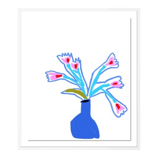Pot of Blue by Annie Naranian in White Frame, Medium Art Print For Sale