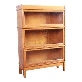 Antique Oak Three-Stack Barrister Bookcase by Library Bureau For Sale