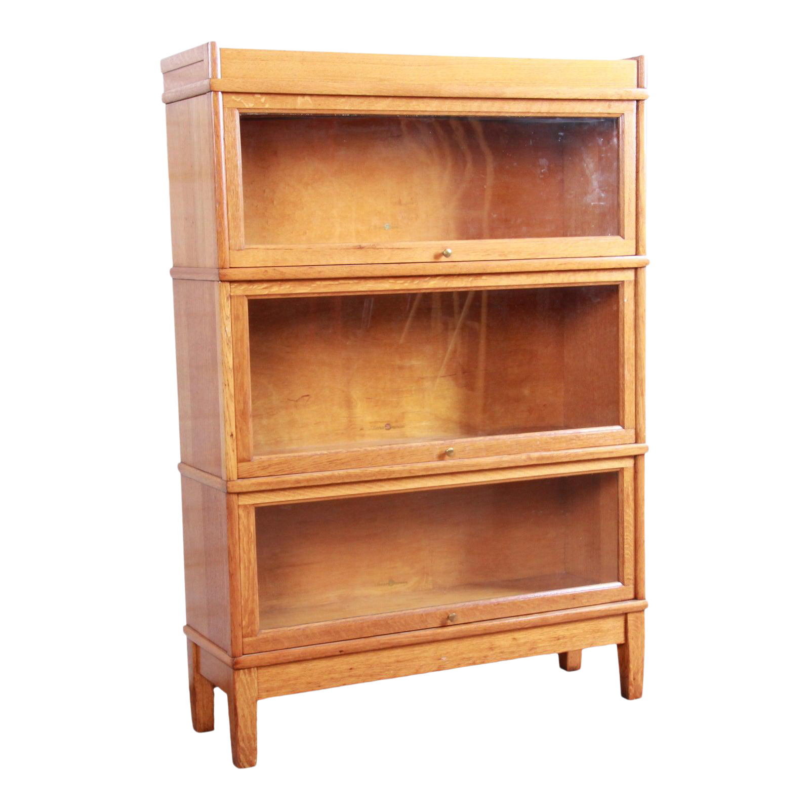 Antique Oak Three Stack Barrister Bookcase By Library Bureau