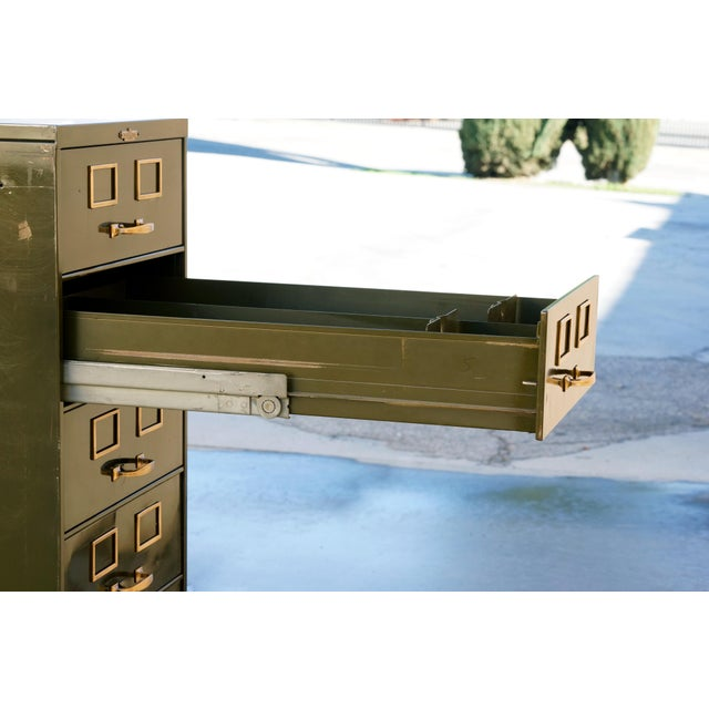 Brass 1930s Multi Drawer Card Filing Cabinet by Remington Rand For Sale - Image 7 of 13
