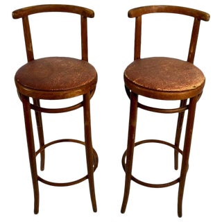 Pair Bentwood Czechoslovakian Stools Attributed to Thonet For Sale