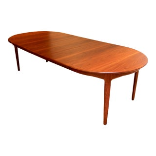1960s Henning Kjaernulf Teak Dining Table With Three Leaves For Sale