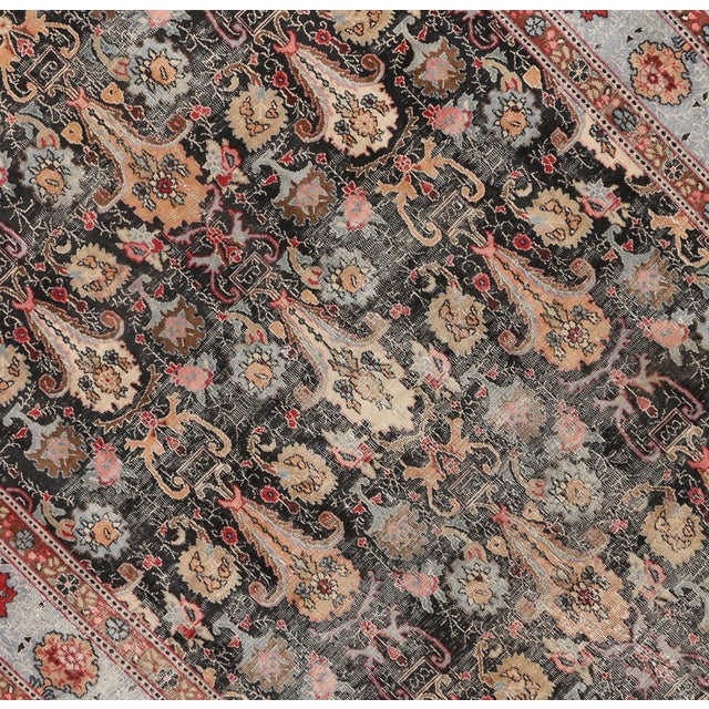 Distressed Antique Persian Khorassan Rug with Mid-Century Modern Style For Sale - Image 4 of 7
