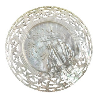 China Trade Period Reticulated and Pierced Mother of Pearl Dish For Sale