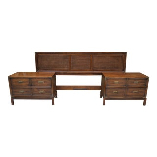 Campaign Henredon King Size Headboard With Matching Pair Bedside Tables - 3 Pieces For Sale