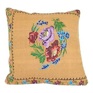 Needlepoint Tapestry Small Kilim Pillow Cover, Terrific Oriental Hand Knotted Decor, Floral Design Lumbar Kilim Pillow 24'' X 24'' (60 X 60 Cm) For Sale