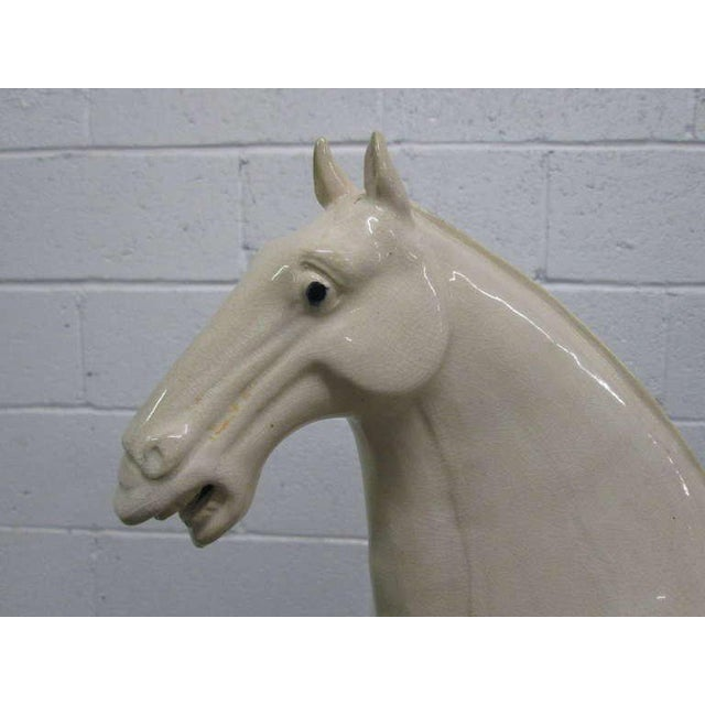 Italian Glazed Terra Cotta Horse Sculpture For Sale - Image 4 of 7