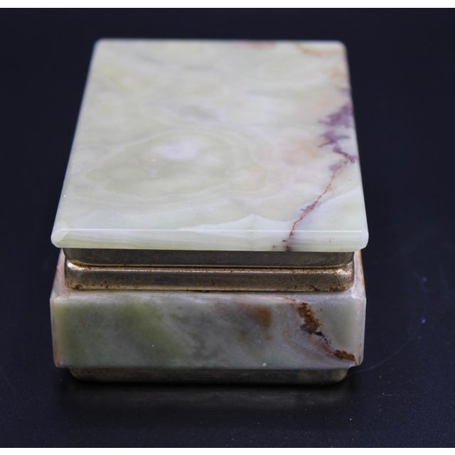 Mid 20th Century Vintage Light Green Marble Lidded Treasure Box For Sale - Image 5 of 13