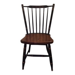 1970s Vintage L. Hitchcock #440 Gold and Black Windsor Style Stick Back Chair For Sale