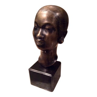 Marc Laguey Asian Bronze Bust of a Woman For Sale