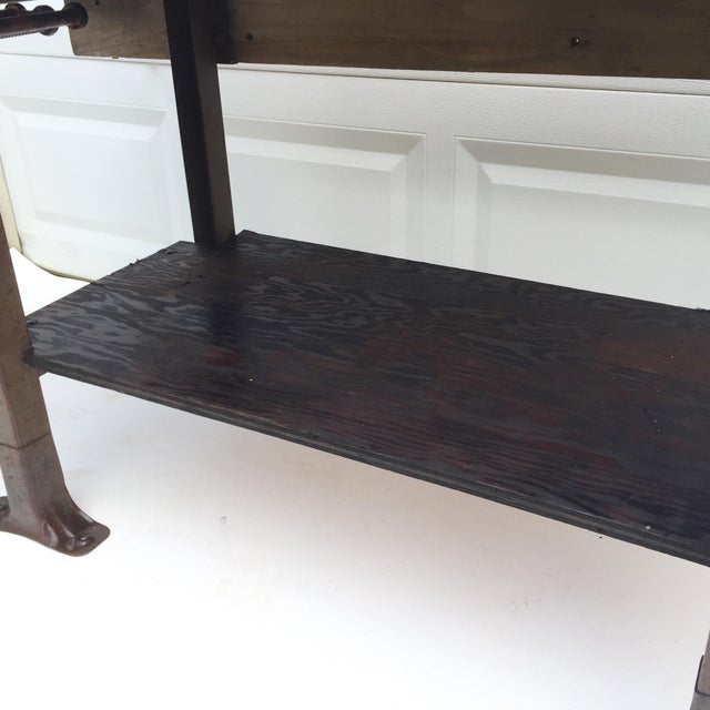 Brown Vintage Industrial Workbench With Table Vise For Sale - Image 8 of 10