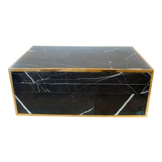 Black Marble and Brass Large Decorative Box For Sale