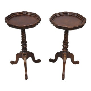 Late 20th Century Cherry Wood Queen Anne Style Side Tables - A Pair For Sale