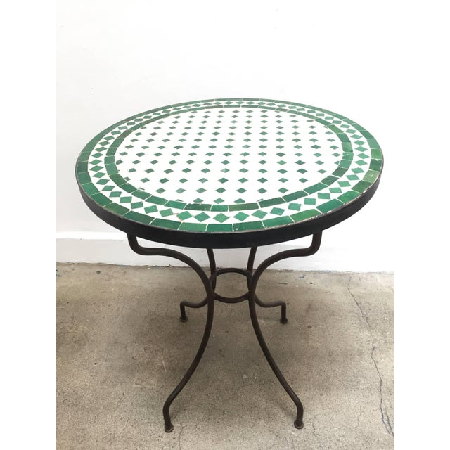 Mid 20th Century 20th Century Moroccan Mosaic Tile Bistro Table on Iron Base For Sale - Image 5 of 5