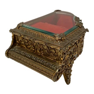Vintage Beveled Glass Brass Grand Piano Music Jewelry Box For Sale