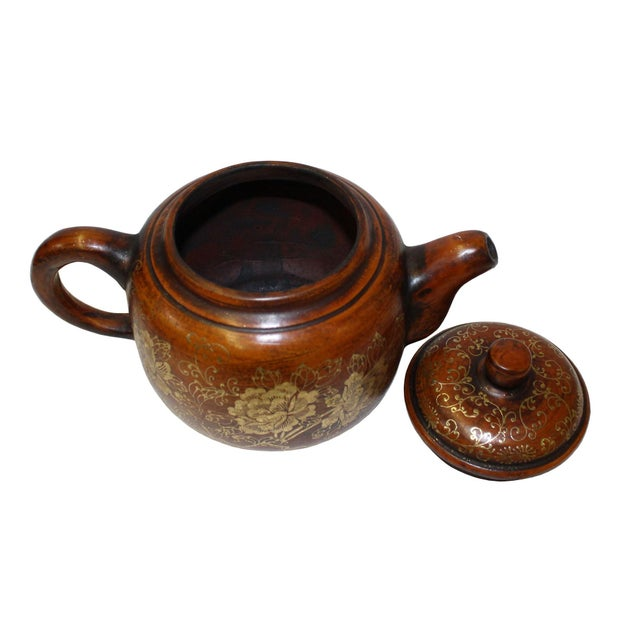 Chinese Zisha Clay Brown Golden Scenery Teapot Display For Sale - Image 4 of 7