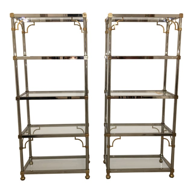 Pair of Brass and Chrome Etageres For Sale
