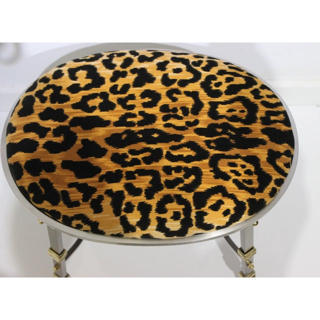 Vintage Maison Jansen Style Oval Stool Polished Steel & Brass Leopard Upholstery from a Palm Beach estate