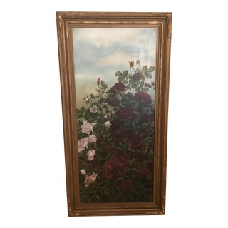 Vintage Botanical Oil Painting, Framed For Sale