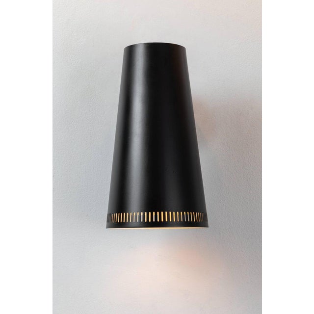 Taito Oy Large Paavo Tynell Black Wall Lights for Taito Oy - a Pair For Sale - Image 4 of 11