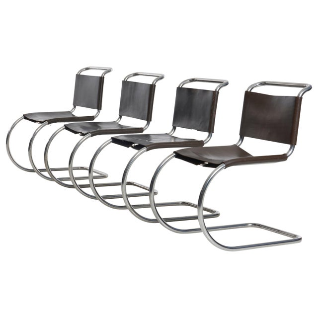 Chocolate Mies Van Der Rohe Mr Chairs Set of 4 For Sale - Image 8 of 8