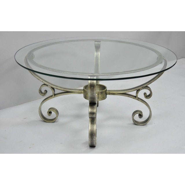 Late 20th Century Vintage Scrolling Iron & Glass Top Coffee Table For Sale - Image 10 of 11