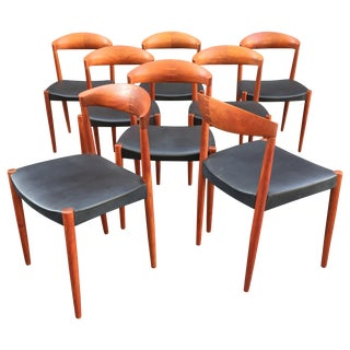 Knud Andersen Solid Teak Dining Chairs - Set of 8