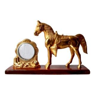 Vintage Western Equestrian Themed Mantel Figurine/Frame For Sale