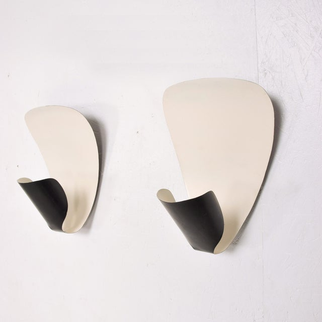 French Wall Sconces B206 by Michel Buffet Black and White Wall Lamp Set For Sale In San Diego - Image 6 of 9
