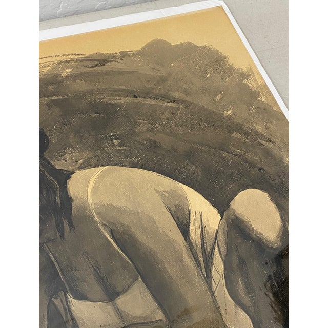 """Gray Mid Century Modern Watercolor """"Washing Clothes"""" Puerto Vallarta by Daniel C.1957 For Sale - Image 8 of 9"""